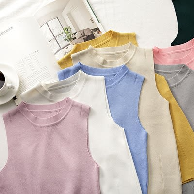 工廠直銷不退換!無袖背心上衣10色選擇簡約純色半高領套頭內搭針織衫女外穿GT5557-B依佳衣