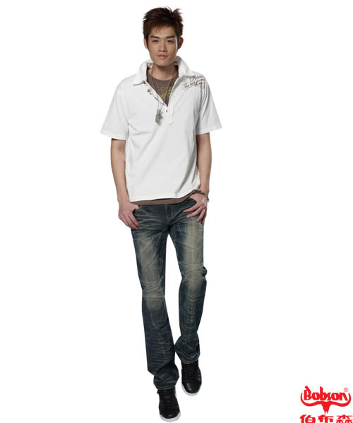 BOBSON 男款老鷹印圖短袖POLO上衣(21009-81)