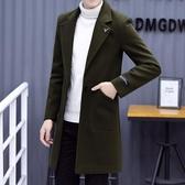 長版大衣 秋冬季風衣男中長版正韓帥氣毛長版大衣男士呢子外套