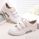 春季爆款新款魔術貼小白鞋女百搭平底板鞋子白色帆布女鞋 至簡元素