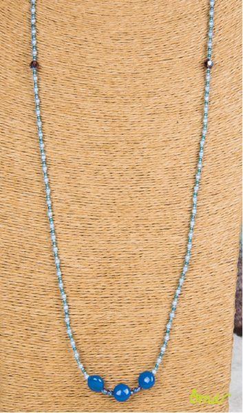 多琳祈福心長型項鍊  (總長約83.5公分) 108顆施華洛世奇元素原廠藍色水晶珍珠  淺藍色系  ~ OHMYDOG! ~
