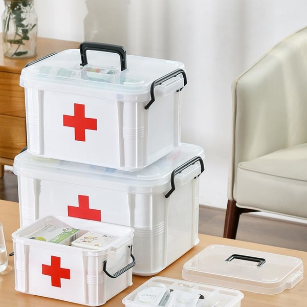藥箱家庭裝醫藥箱家用藥品收納盒小醫療箱大容量醫用包多層急救箱 「快速出貨」