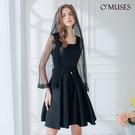 OMUSES 兩件式珍珠蕾絲刺繡伴娘黑色短禮服