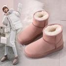 雪地靴 雪地靴女2021年新款時尚短筒網紅平底加絨冬季保暖短靴棉鞋子學生 維多原創