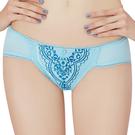 思薇爾-啵時尚花心思系列M-XL蕾絲低腰三角內褲(礦水藍)