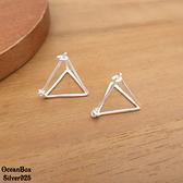 §海洋盒子§亮眼立體素銀色鏤空三角造型針式易扣925純銀耳環