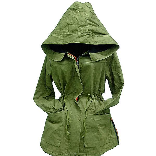 SISI【C3045】帥氣獨特 配色雙領抽繩連帽風衣外套 縮腰反折袖側拉鍊軍裝大衣