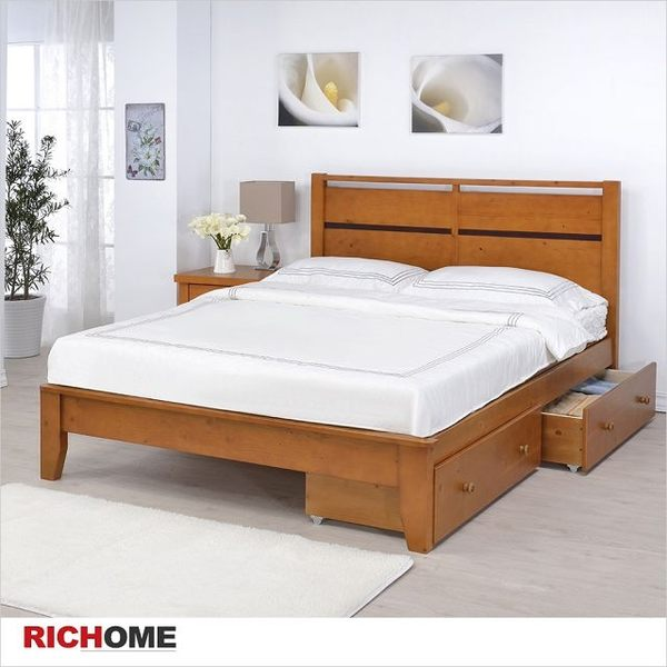 【RICHOME】專人到府組裝《艾得雙人床架附雙抽屜》