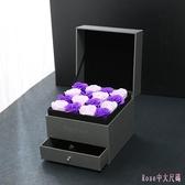香皂花 雙層驚喜抽屜盒玫瑰花盒口紅禮盒 情人節銀飾項鍊首飾盒 DR25814【Rose中大尺碼】