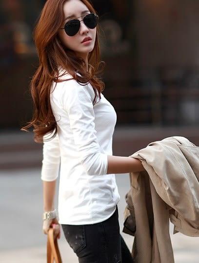 *魔法之城*F14926打底衫韓版修身V領上衣純棉長袖薄T恤