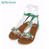 【Bo Derek 】璀璨寶石繫踝平底涼鞋-綠色