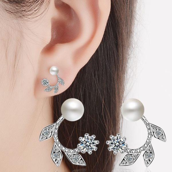 耳環 唯美C形月桂葉微鑲鋯石珍珠 925銀針  耳環