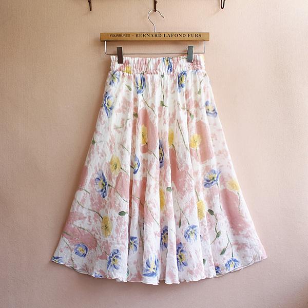 新款民族風女半身裙復古亞麻水墨印花短裙棉麻田園中裙過膝裙