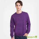 素色圓領厚棉T恤紫色-bossini男裝