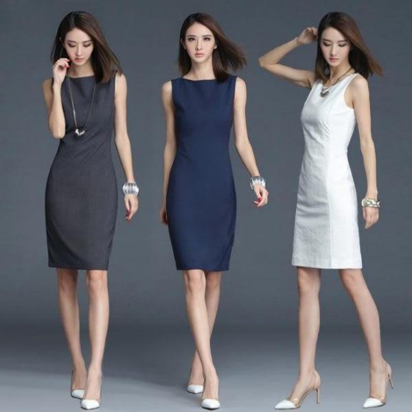 洋裝 播音主持藝考上鏡背心打底裙 氣質OL白色修身無袖連身裙