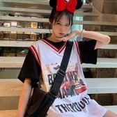 短袖女新款夏季韓版中長款寬松網紅ins字母假兩件球衣t恤上衣