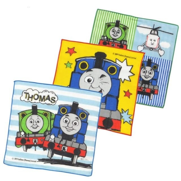 小禮堂 湯瑪士火車 日本製 紗布方巾3入組 19x19cm (藍橫紋款) 4975953-84757
