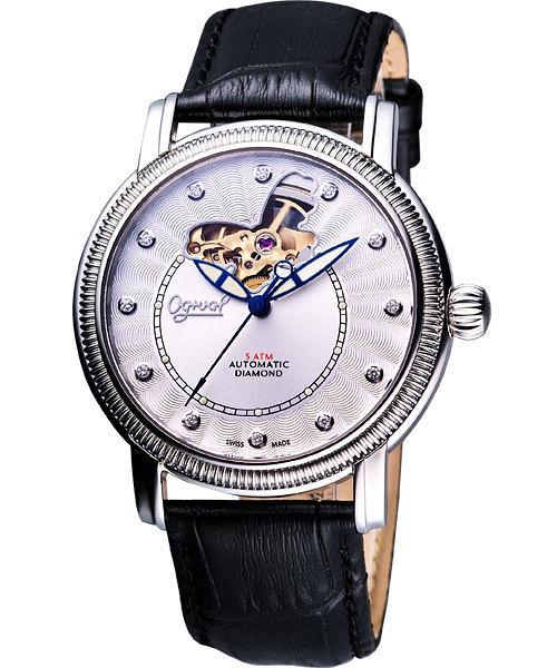 Ogival 愛其華 《蝶之舞》真鑽心跳機械腕錶-銀白(358AG-825)