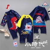 兒童泳衣 連體泳衣男童卡通防曬連體沖浪服套裝小童戶外童泳裝