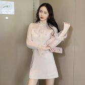 VK精品服飾 韓國風透視網紗拼接氣質蝴蝶結長袖洋裝