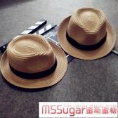 韓國兒童禮帽兒童草帽女童太陽帽寶寶帽子男小孩沙灘涼帽親子兒童帽子