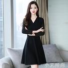 早春秋裝2021年新款女裝v領黑色雪紡洋裝子長袖氣質小個子法式 小艾新品
