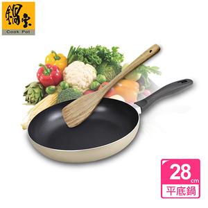 【鍋寶】金鑽不沾平底鍋-香檳金(28CM-贈實木鏟)
