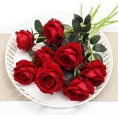 仿真玫瑰花單支假玫瑰花客廳裝飾花絨布紅玫瑰 優樂居