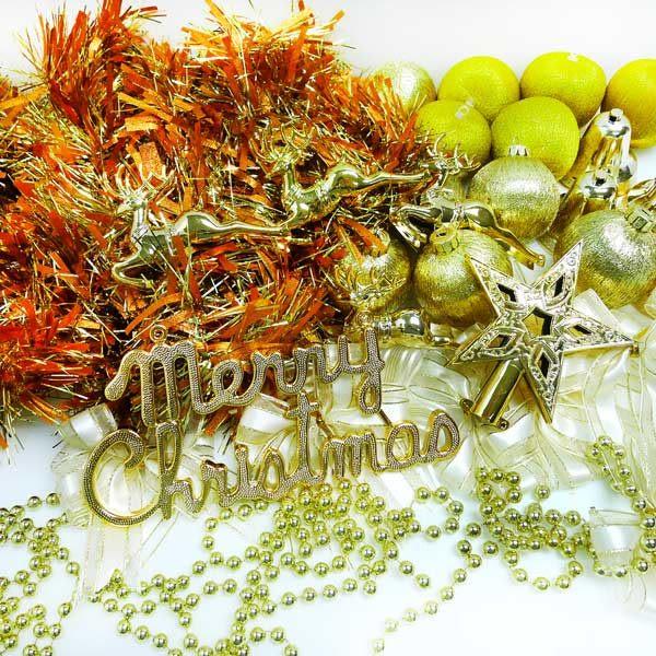 聖誕裝飾配件包組合~純金色系 (3尺(90cm)樹適用)(不含聖誕樹)(不含燈)