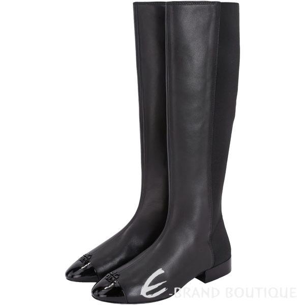TORY BURCH Jolie 皮革拼接長靴(黑色) 1630239-01
