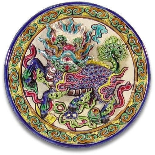 鹿港窯-交趾陶居家開運裝飾壁飾~M四寶麒麟