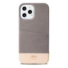 Alto iPhone 12 Pro Max 真皮手機殼背蓋 6.7吋 Metro - 礫石灰/本色【可加購客製雷雕】皮革保護套