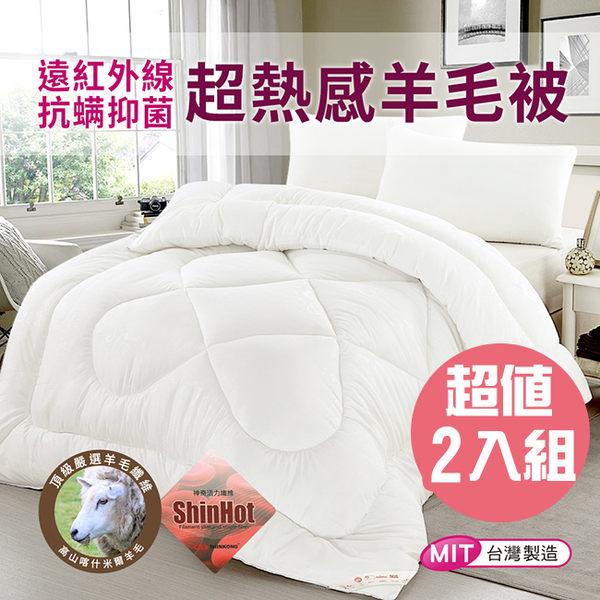 【精靈工廠】遠紅外線抗螨抑菌超熱感羊毛被/6*7呎 2.1KG/2入組(B0712*2)