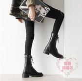 馬丁靴 秋冬新款中筒靴女粗跟側拉鏈機車短靴加絨學生英倫風馬丁靴-樂購旗艦店