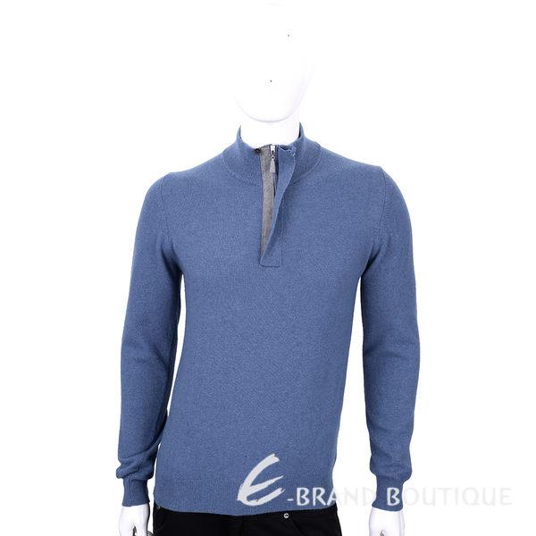 FRADI 藍灰色半拉鍊設計羊毛長袖上衣 1540394-23