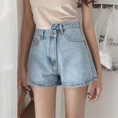 夏裝女裝韓版高腰百搭不規則扣牛仔褲顯瘦闊腿褲短褲學生直筒褲潮