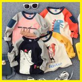 雙12購物節   2018秋新款卡通圖案印花口袋長袖T恤男童女童寶寶打底衫上衣體恤   mandyc衣間