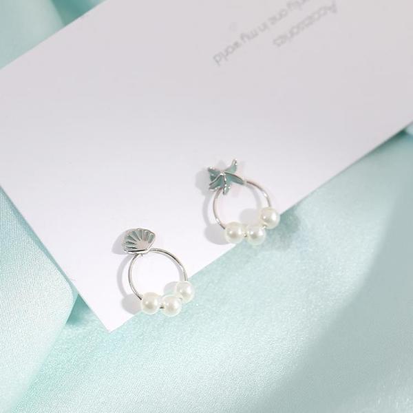 925純銀海星耳釘女 年新款潮甜美清新夏天不對稱珍珠耳飾