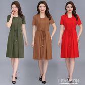 中年女夏裝短袖連衣裙50歲媽媽裝夏季彈力棉裙子中老年假兩件衣服-Ifashion