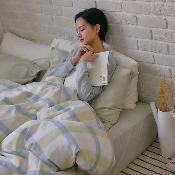 《預購》長絨棉 床包被套組(薄被套) 雙人【萊姆格格 x 淺草綠】色織雙層紗 自由混搭 翔仔居家