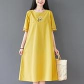 洋装 中大尺碼 新款文藝純色圓領大碼棉麻薄款刺繡印花休閒顯瘦舒適七分連身裙女