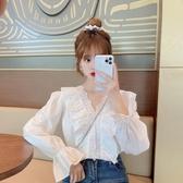 蕾絲襯衫季韓版設計感小眾氣質白襯衫女蕾絲寬鬆洋氣長袖上衣潮【快速出貨】