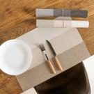 日式風三色拼接餐墊 隔熱墊 西餐墊 防滑墊 防燙墊  重複洗用 PVC編織【N428】米菈生活館