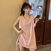無袖T恤 設計感背心T恤女韓版寬鬆2021新款春夏網紅炸街粉色無袖上衣ins潮