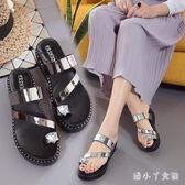 夏季新款女鞋厚底女防滑平底涼拖鞋韓版坡跟高跟套趾涼鞋潮 XW669【潘小丫女鞋】