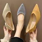 包鞋.日系糖果色素面皮革尖頭低跟包鞋.白...