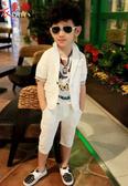 衣童趣 ♥中大男童白色經典款兩件式套裝 西裝外套+褲子花童 喜宴 正式場合 帥氣必備款【現貨】