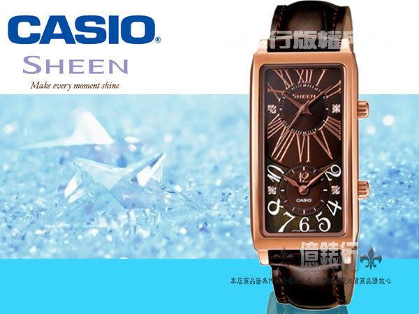 CASIO日本卡西歐Sheen雙時區復古腕錶-咖啡x玫瑰金框/20.5mm公司貨SHE-4035PGL-5AUDR/少女時代