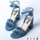 MG 綁帶高跟-百搭韓版中跟粗跟綁帶羅馬高跟鞋