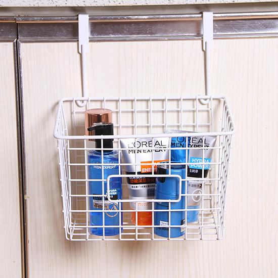 垃圾袋收納 調味料架 鐵藝 日式鐵藝家居 掛勾 可抽式 門背式 掛式抽口收納籃 米菈生活館【Q253】